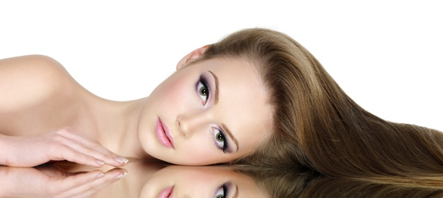 beautiful hair on young woman - platinium hair&nail