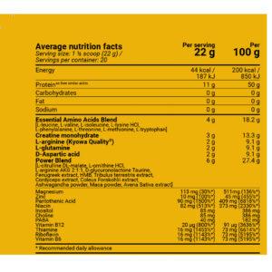 Platinium MMA Stack - Kiwi-Green Apple 400g nutrition facts